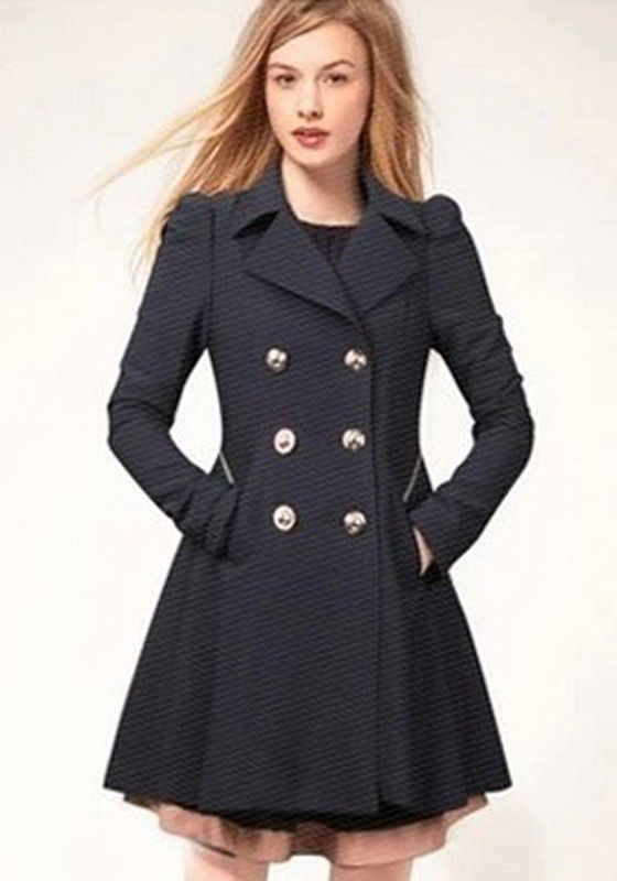 a7015799fa Navy Blue Plain Double Breasted Trench Coat | [Fashion] Trends ...