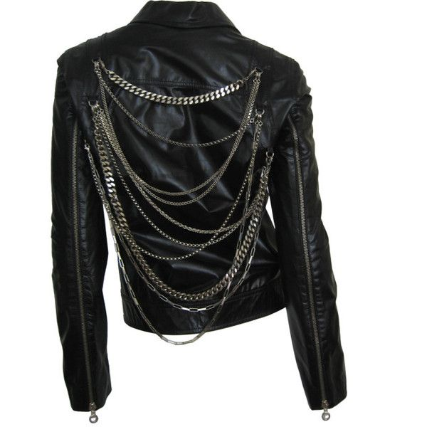4502ee769e9 1990 s Versace Leather Motorcyle Jacket with Chains ❤ liked on Polyvore  featuring outerwear