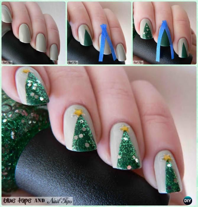 Diy Christmas Nail Art Ideas Designs Picture Instructions Christmas Nails Diy Christmas Tree Nails Trendy Nails