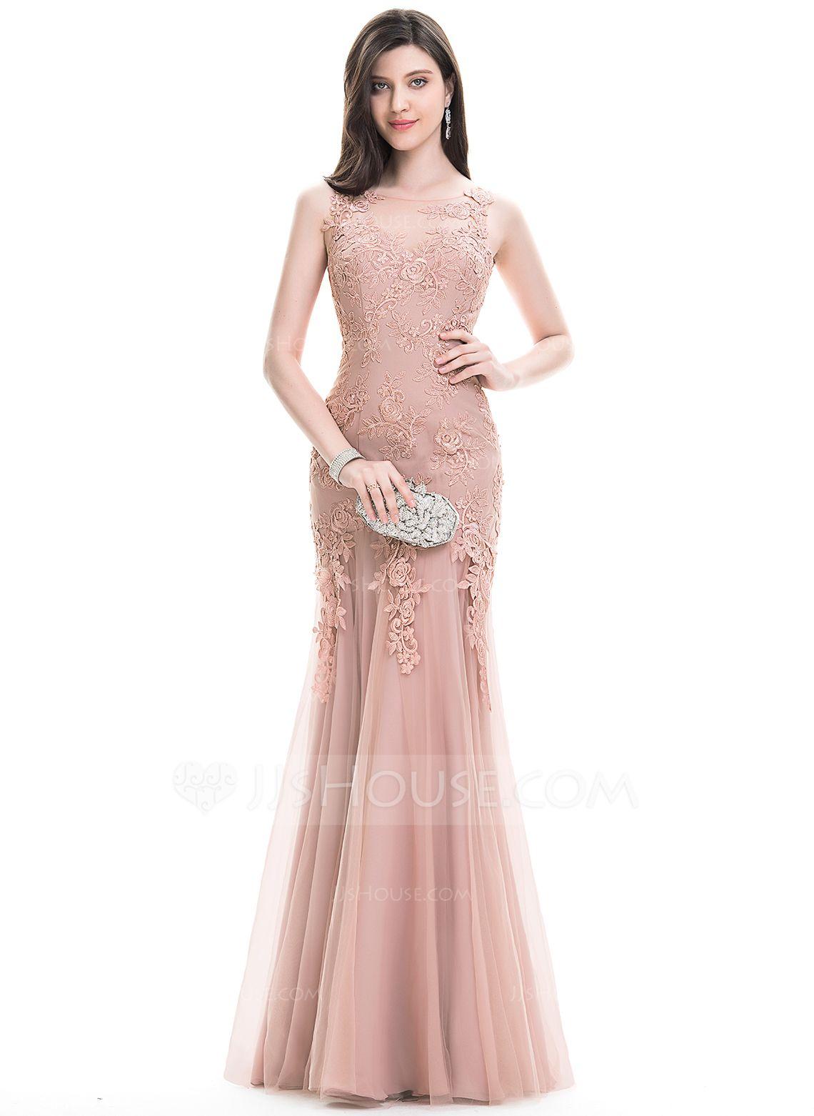 Trumpet/Mermaid Scoop Neck Floor-Length Tulle Lace Evening Dress ...