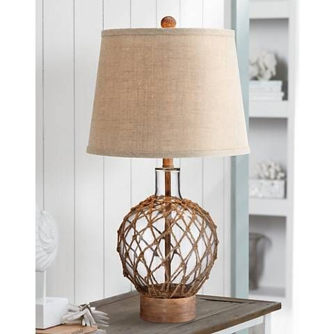 Rope And Glass Jug Table Lamp X0316 Lamps Plus Nautical Lamps Rope Lamp Wood Lamp Shade