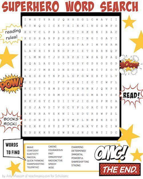 Pow! Blam! Superhero Word Search