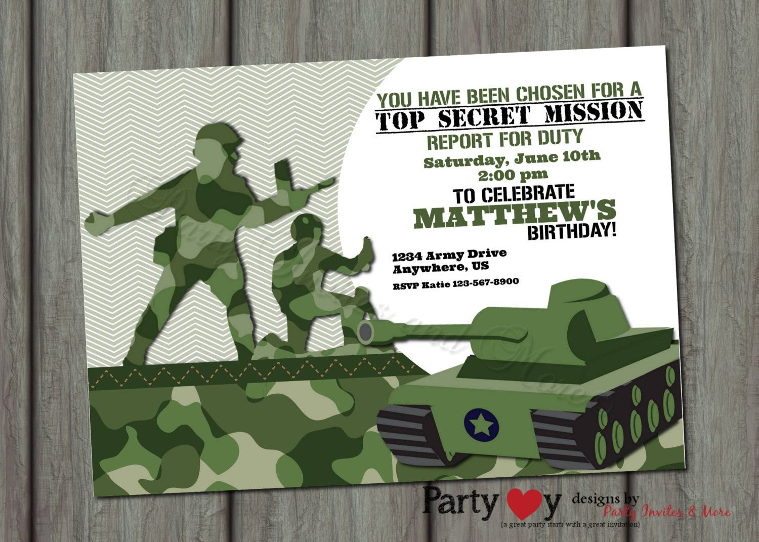 Camouflage Birthday Invitations Printable