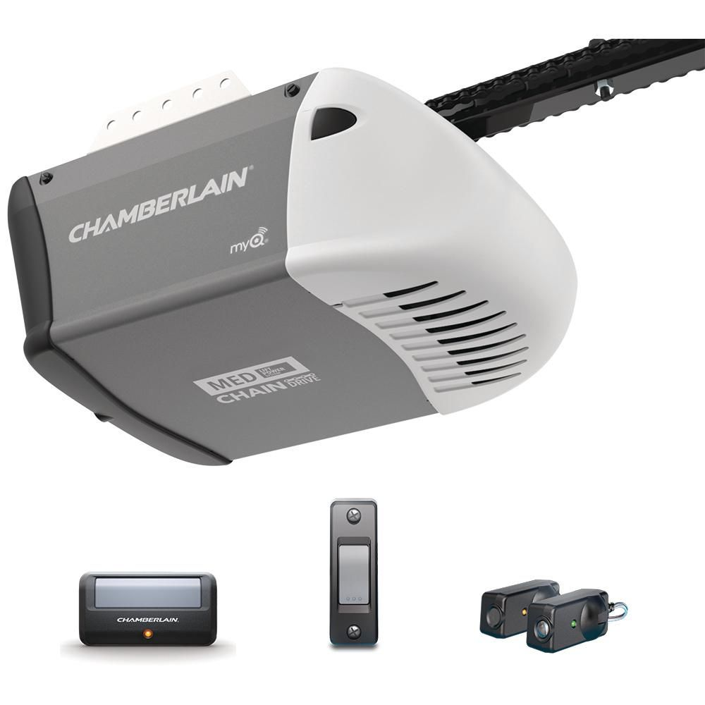 Chamberlain 1 2 Hp Heavy Duty Chain Drive Garage Door Opener C205 The Home Depot Chamberlain Garage Door Garage Door Opener Chamberlain Garage Door Opener