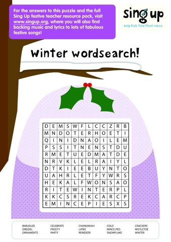 Winter Wordsearch Winter, Xmas and Crafts