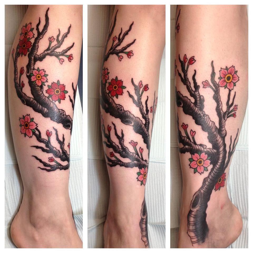 Cherry Blossom Tree On Lower Leg Body Art Tattoo And Piercing Body Art Tattoos Tattoos Body Art