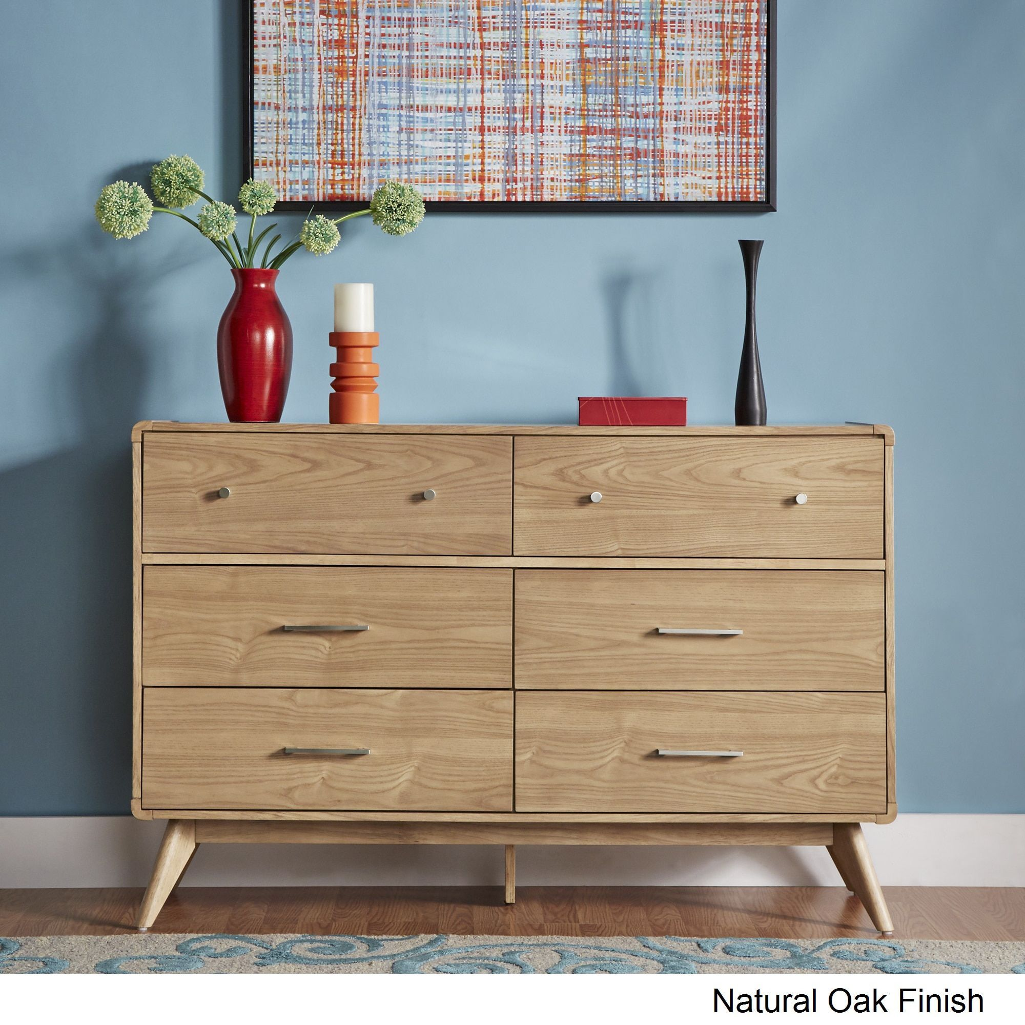 Penelope Danish Modern Curved 6-drawer Dresser iNSPIRE Q Modern (Natural  Oak Dresser Without Mirror), Brown