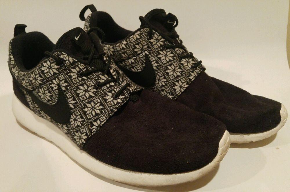 Nike Roshe Run Winter Black White Size 12 807440 001 Mens