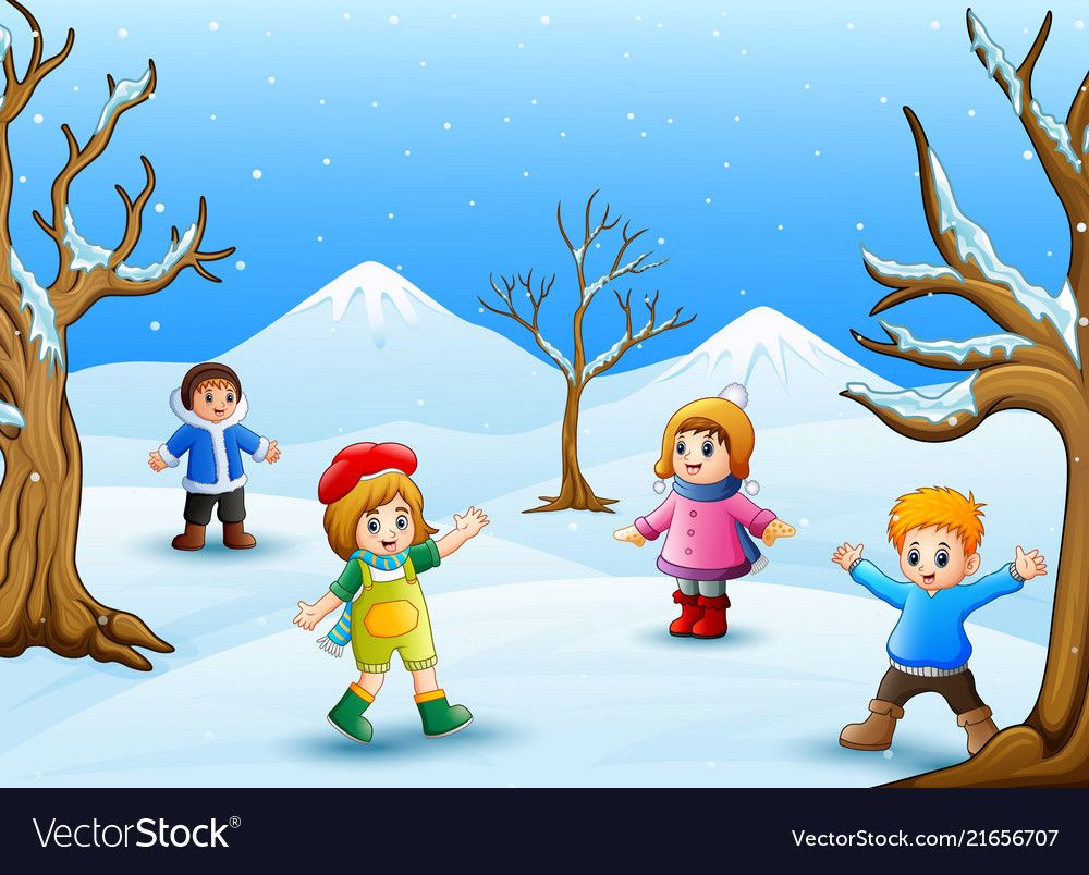 Happy Kids Playing Outdoors In Winter Royalty Free Vector Happy Kids Kids Outdoor Play Kids Playing