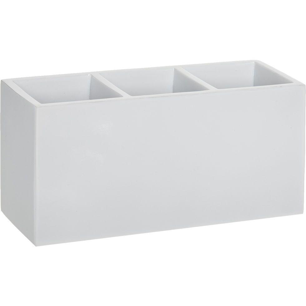 White Three Compartment Lacquered Storage Box - Bathroom Accessories ...