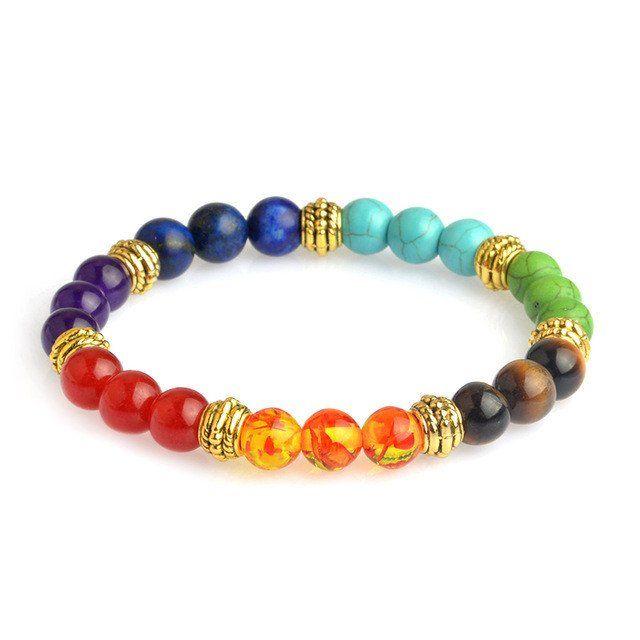 Multicolor 7 Chakra Healing Balance Beads Bracelet Yoga Life Energy Natural Stone Bracelet Women Men Casual Jewelry
