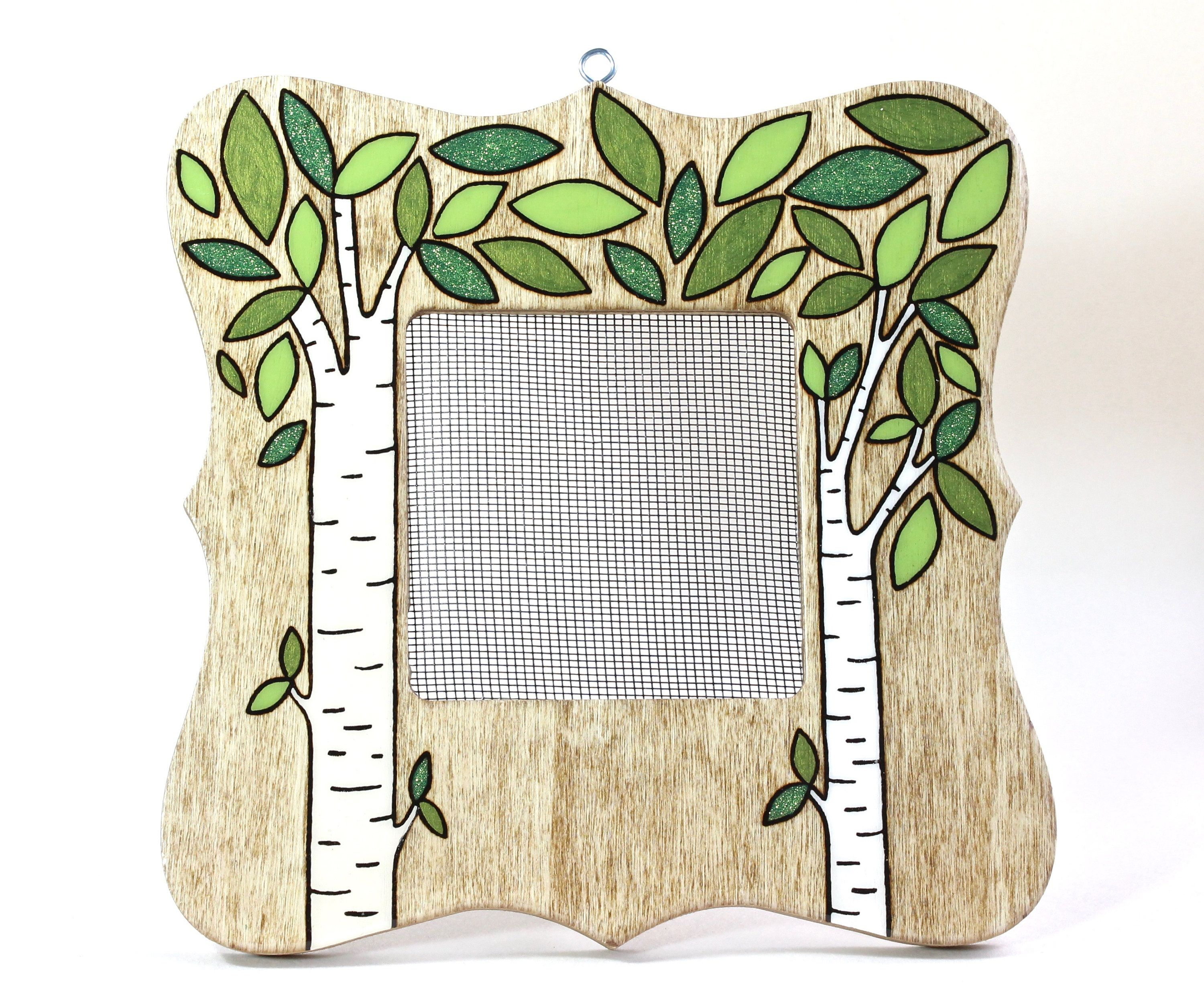 Earring Organizer Frame Display Stand, Wood Burned Birch Tree Jewelry