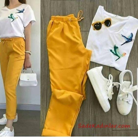 Photo of 2019 Spor Ayakkabı Kombinleri Sarı Kumaş Pantolon Beyaz Bluz Beyaz Spor Ayakkabı