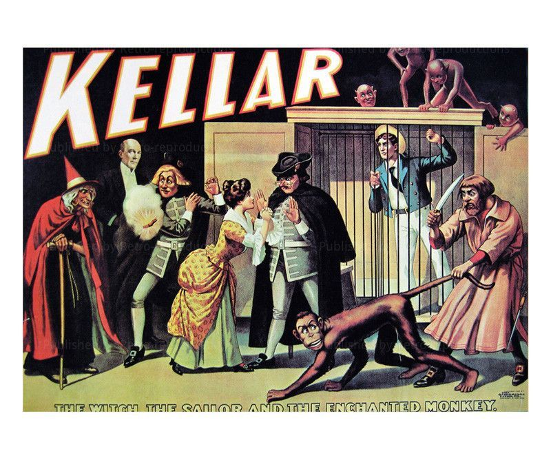 Kellar The Witch, the Sailor and the Enchanted Monkey - Magic reproduction print
