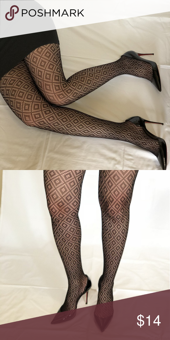 Black Diamond Fishnet Lace Pantyhose Tights Boutique My Posh Picks
