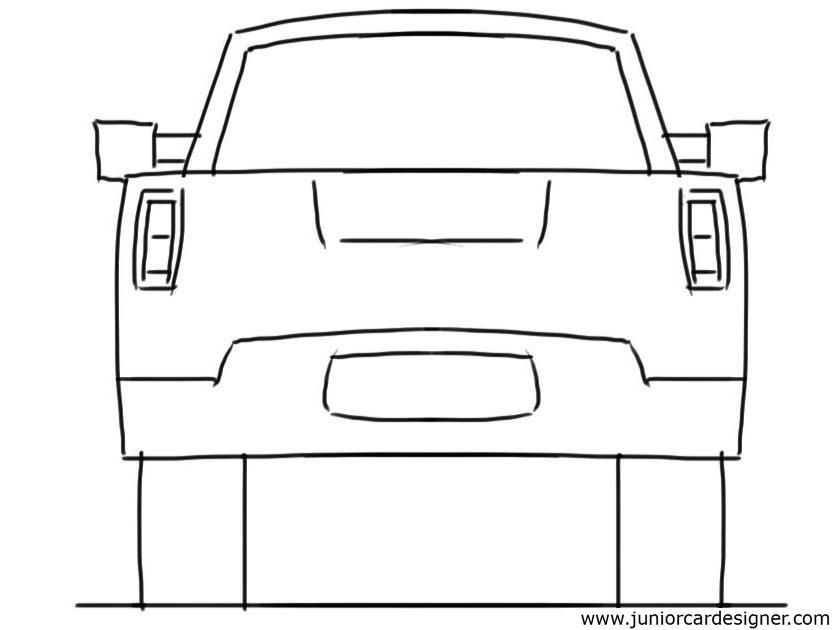 Car Drawing Tutorial Pick Up Truck Rear View With Images Car