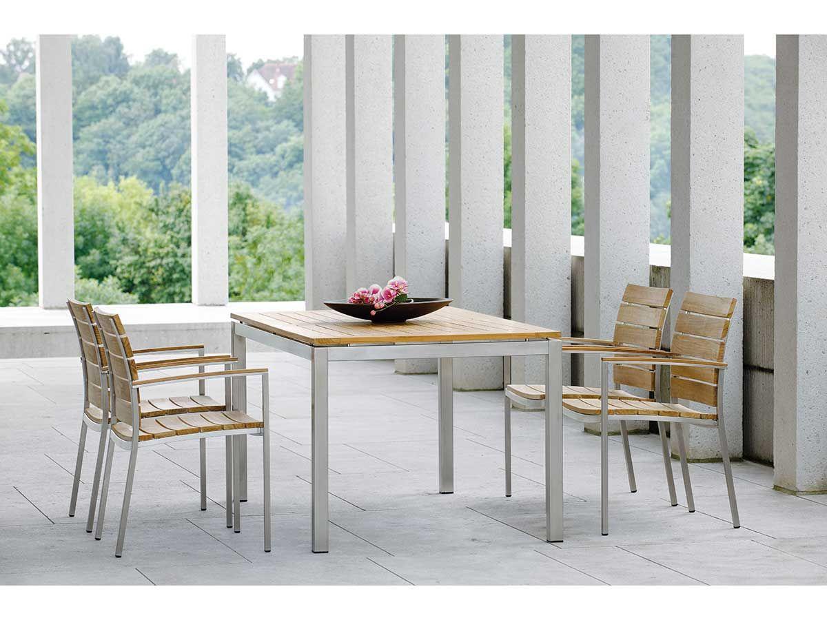 Stern Gartentisch Tischsystem Edelstahl Vierkant Teak 200x100 Cm