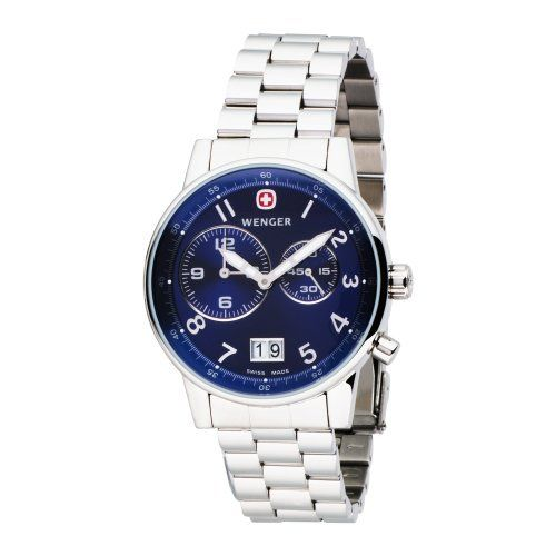 Wenger Men's 74718 Commando Dual Time 2-Eye Blue Dial Steel Bracelet Watch Wenger. $164.78. Screw on back. Water-resistant to 330 feet (100 M). 3 year Limited warranty. Swiss made; presentation case. Full sweep second hand