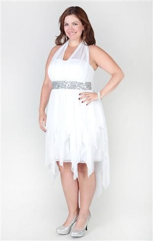 Plus Size High Low Dress With Illusion Halter Silhouette And Hanky Hem