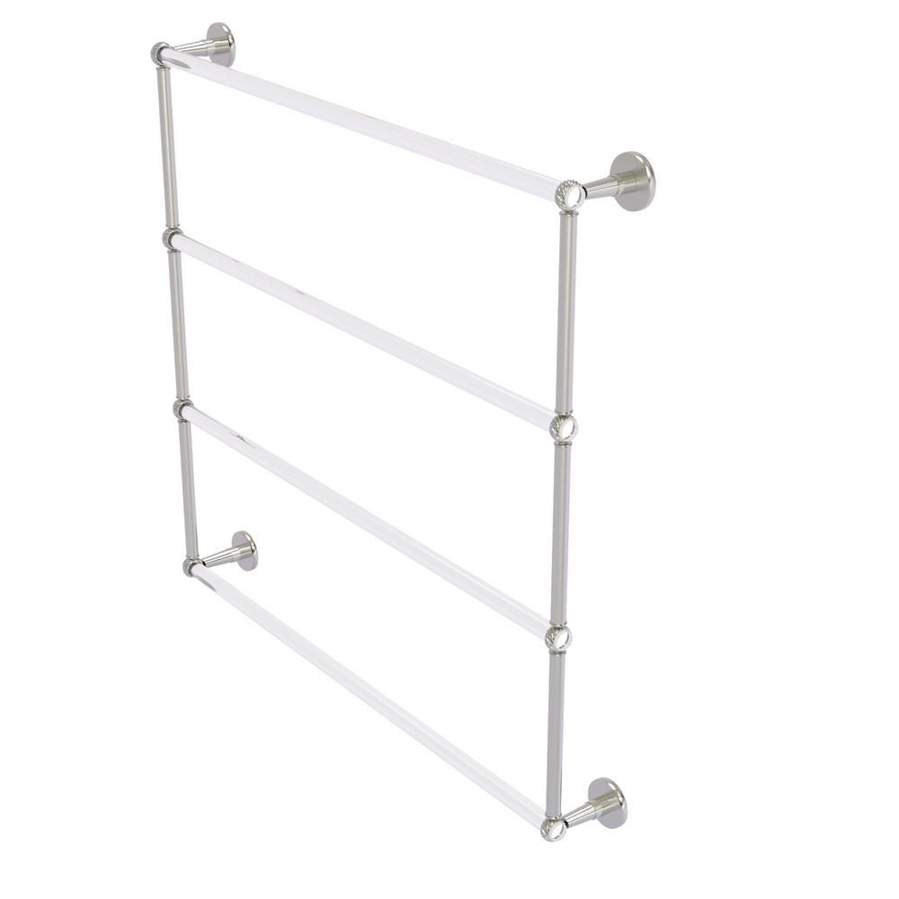 Allied Brass Clearview 36 In 4 Tier Ladder Towel Bar With Twisted Accents In Satin Nickel Cv 28t 36 Sn In 2020 Wall Mount Towel Bar Model