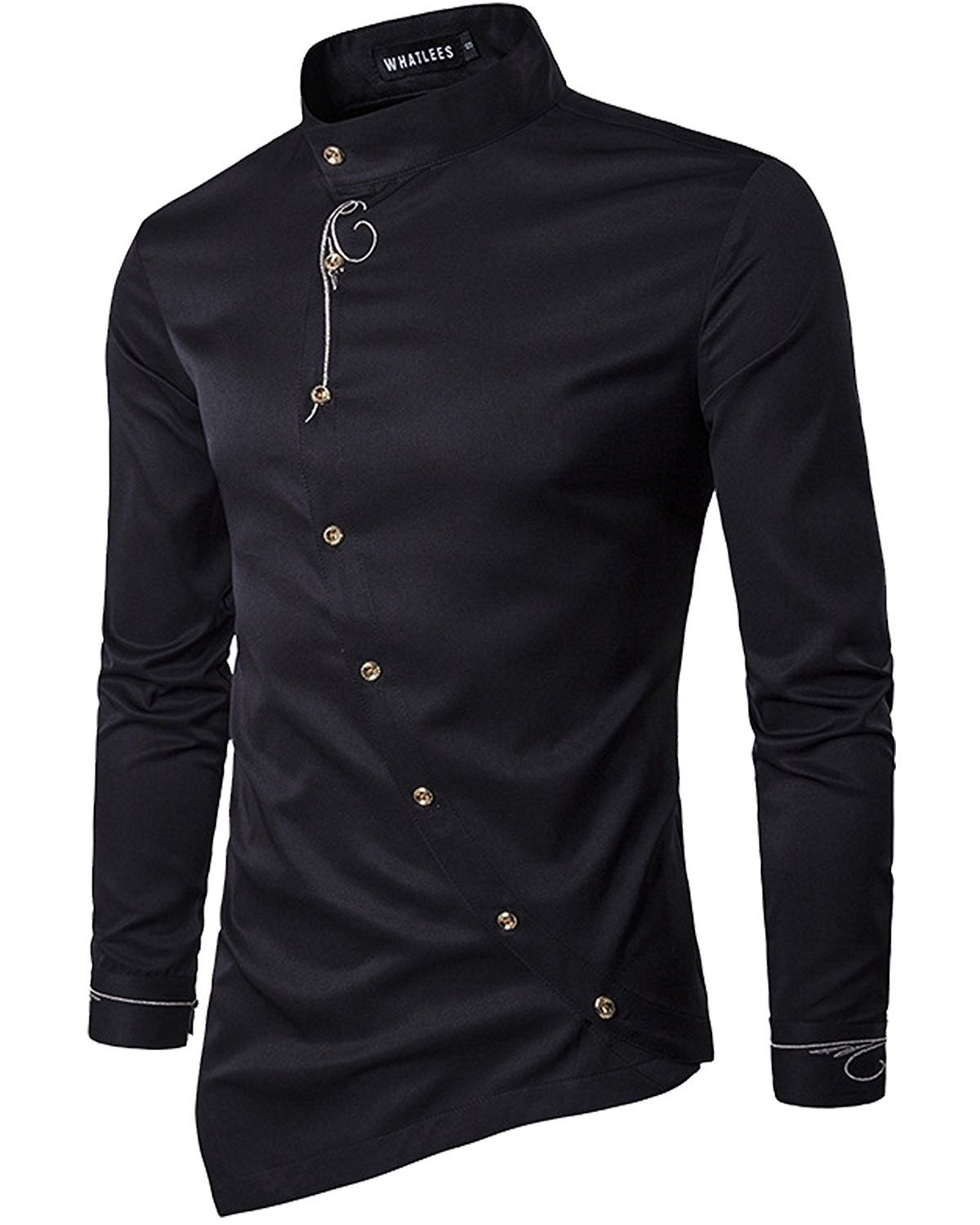 Men S Casual Long Sleeve Oblique Button Down Dress Shirt Tops With Embroidery Black Cd186zo6g77 Casual Long Sleeve Shirts Casual Shirts For Men Mens Shirt Dress [ 1500 x 1200 Pixel ]