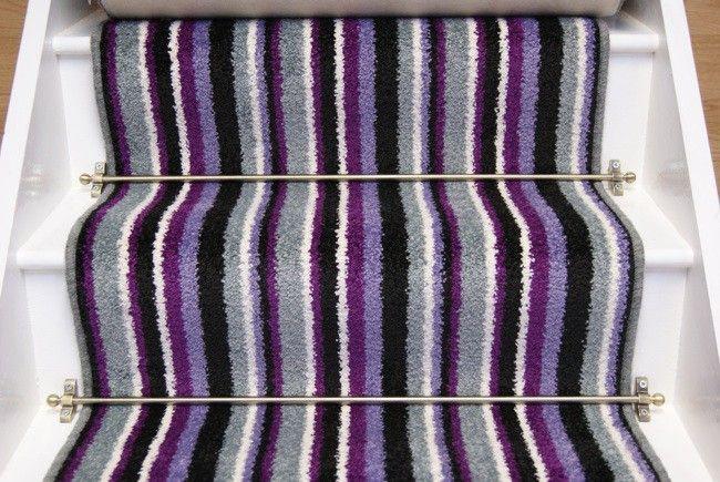 Best Prince Purple Stripe Stair Runner 65Mx063M Striped Stair 400 x 300