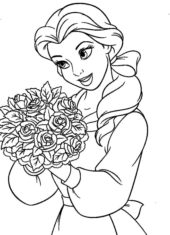 Coloring Pages Beauty And The Beast : Beauty and the beast belle holding flowers