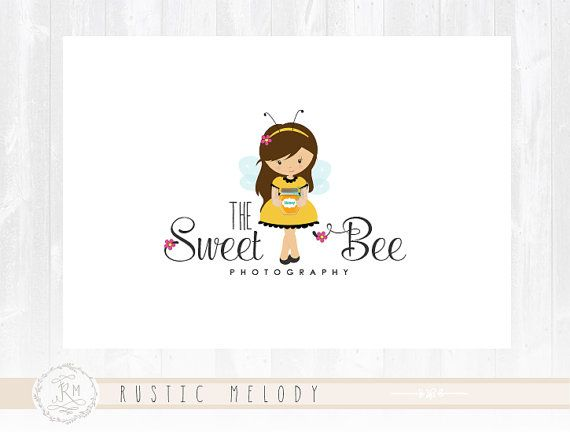 Bee Logo Design Children Logo Design Little Bee Logo Childcare  Logo Girl Logo Boutique Logo Kids Logo Watermark Photography Logo
