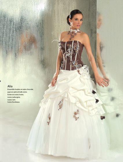 Robe mariée d'occasion ivoire/chocolat taile