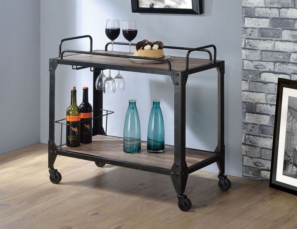 Industrial Wine Cart Rack Kitchen Rolling Storage Bar Wood