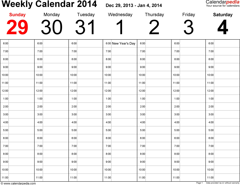 Weekly calendar 2014: template for Excel version 2, landscape, 53 ...
