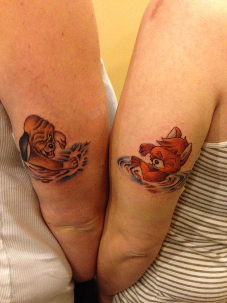 Fox And Hound Matching Tattoos Girlfriend Tattoos Tattoo For Boyfriend Friend Tattoos