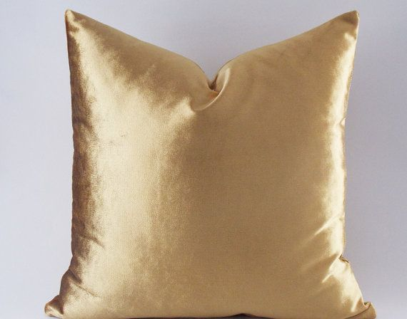 Velvet Solid Gold Pillow Covers Decorative Velvet Pillows Etsy Gold Pillow Covers Gold Throw Pillows Gold Pillows