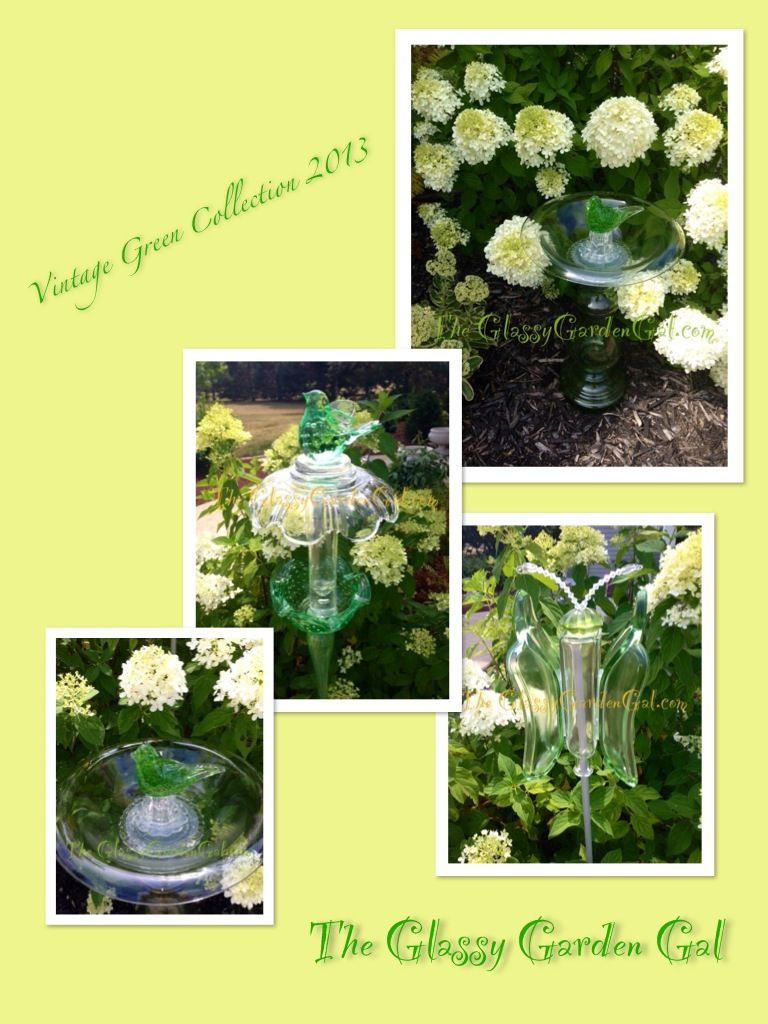 Vintage Green Collection 2013 Glass Bird Bath, glass butterfly ...
