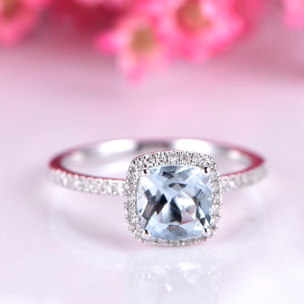 Aquamarine engagement ring 1.3ct aquamarine ring 7mm cushion shape ...