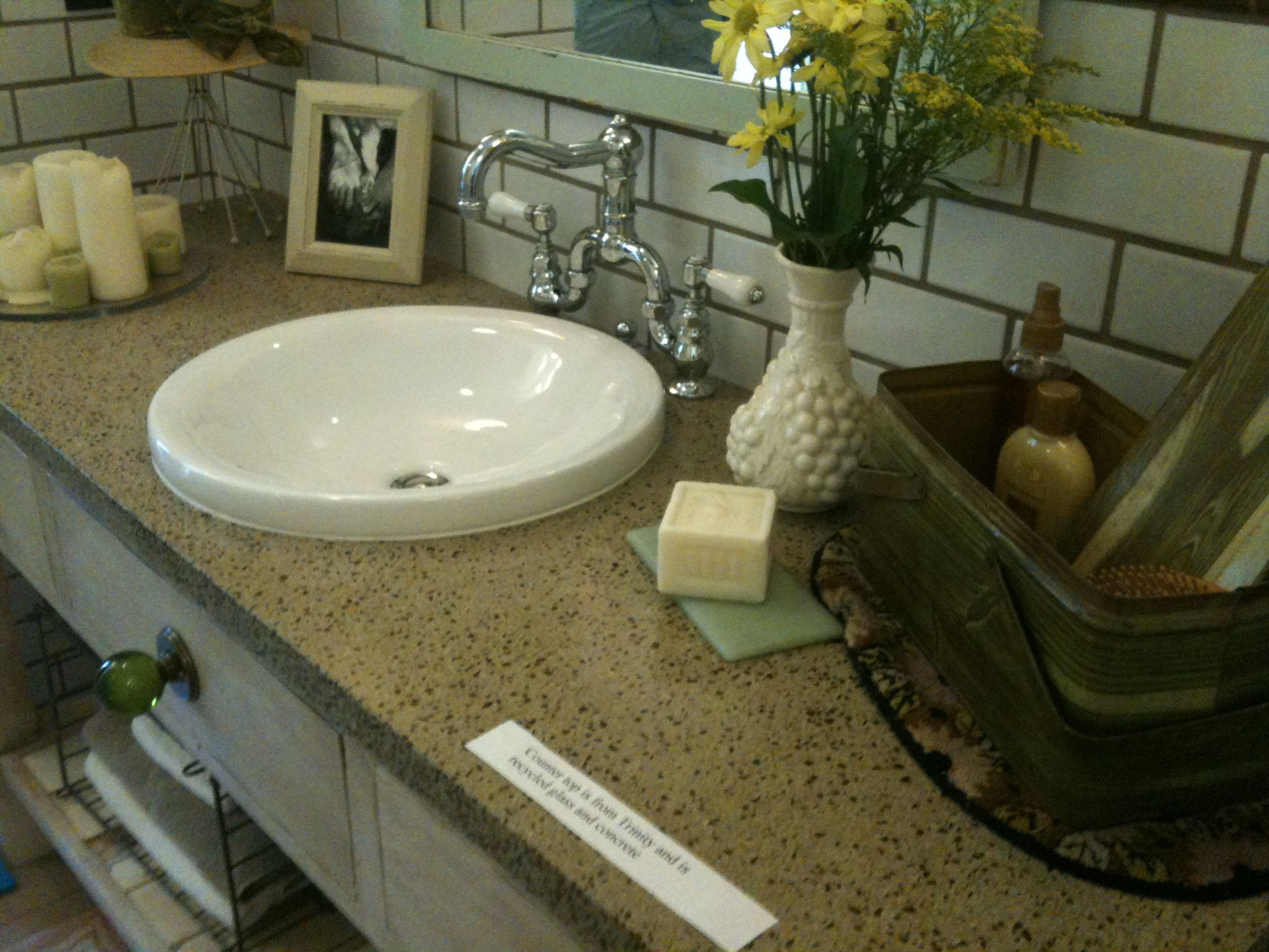 Bathroom Countertop Made From Recycled Glass And Concrete R E X House Eco Design Solutions