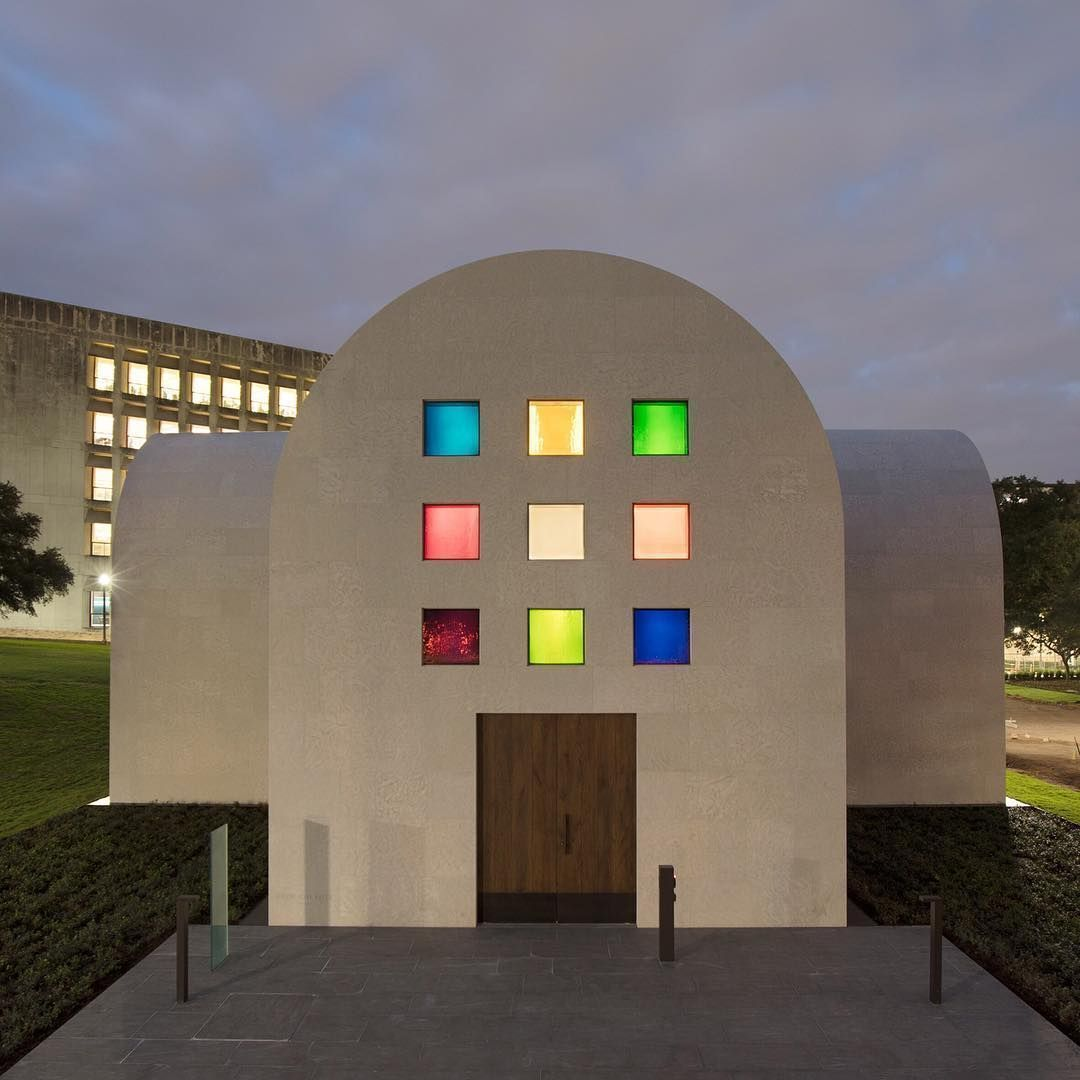 A pavilion with colourful geometric windows by late