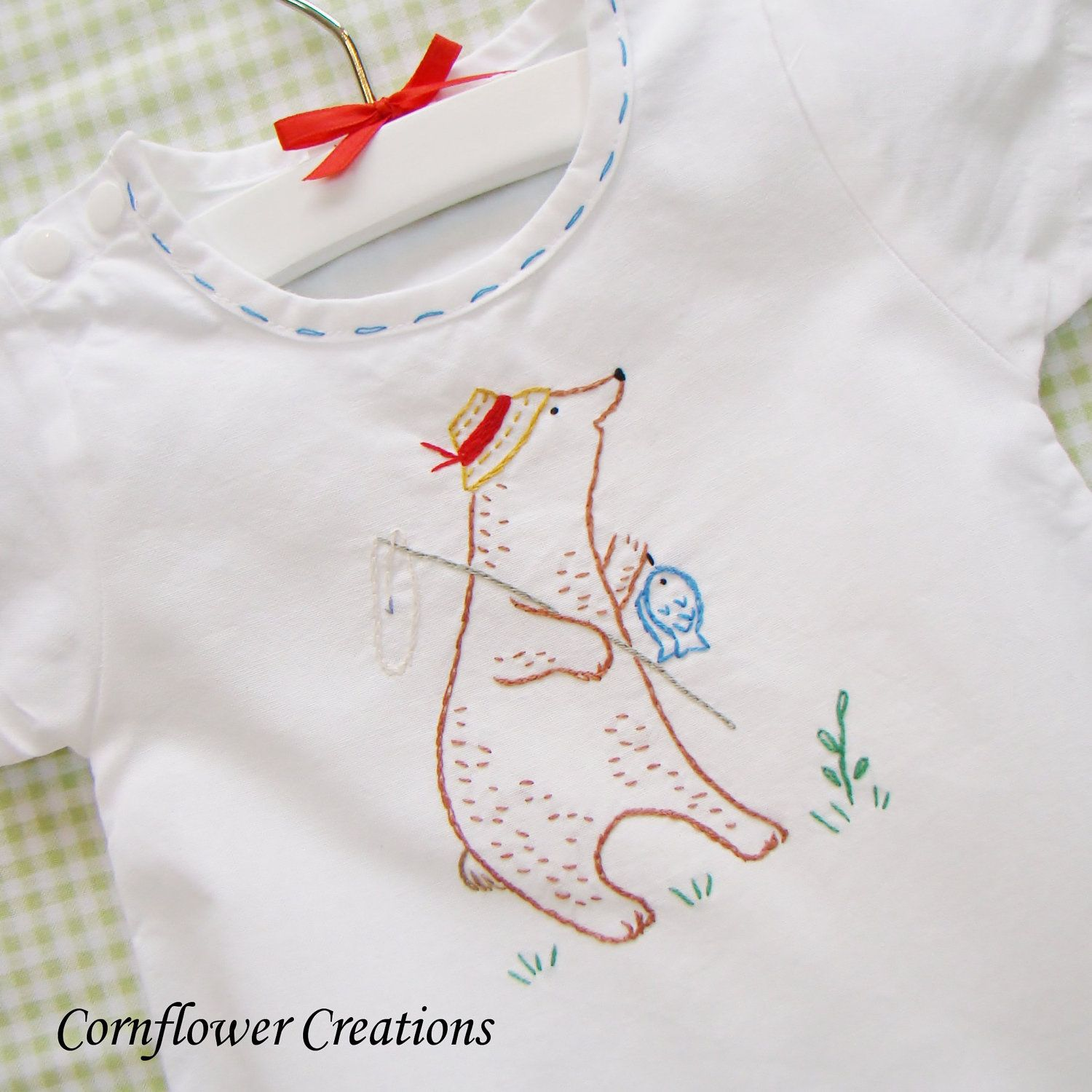 Fishing Bear - Hand Embroidered Vintage Style Romper | Embroidery ...