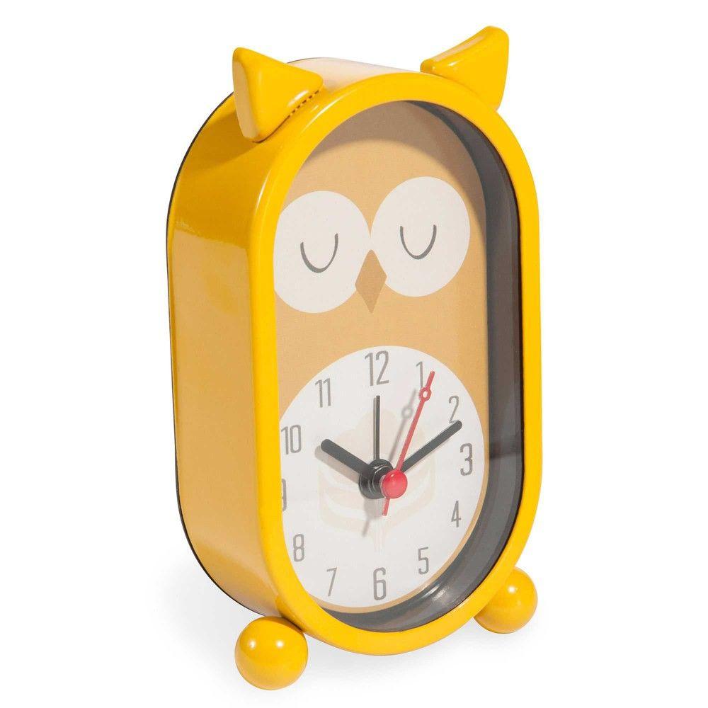 réveil chouette en métal jaune h 14 cm vintage