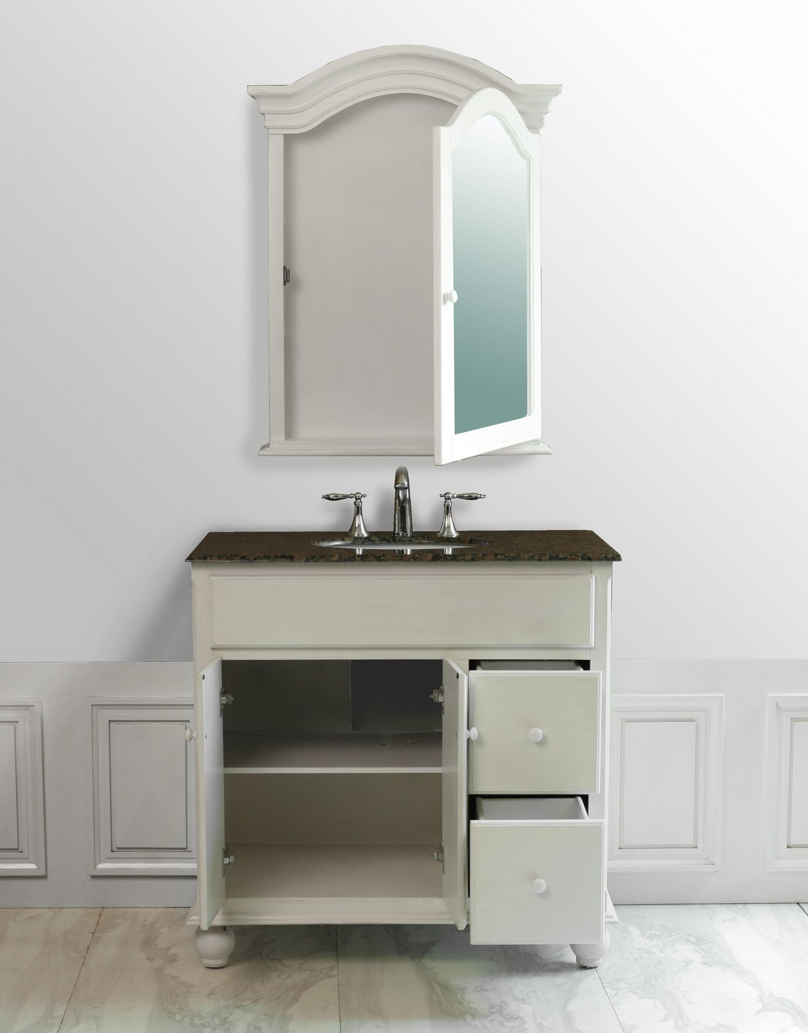 Snow White 36 Inch Single Sink Vanity With Baltic Brown Granite