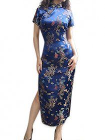 Dragon And Phenix Pattern Cheongsam Blue Chinese Dress Qipao