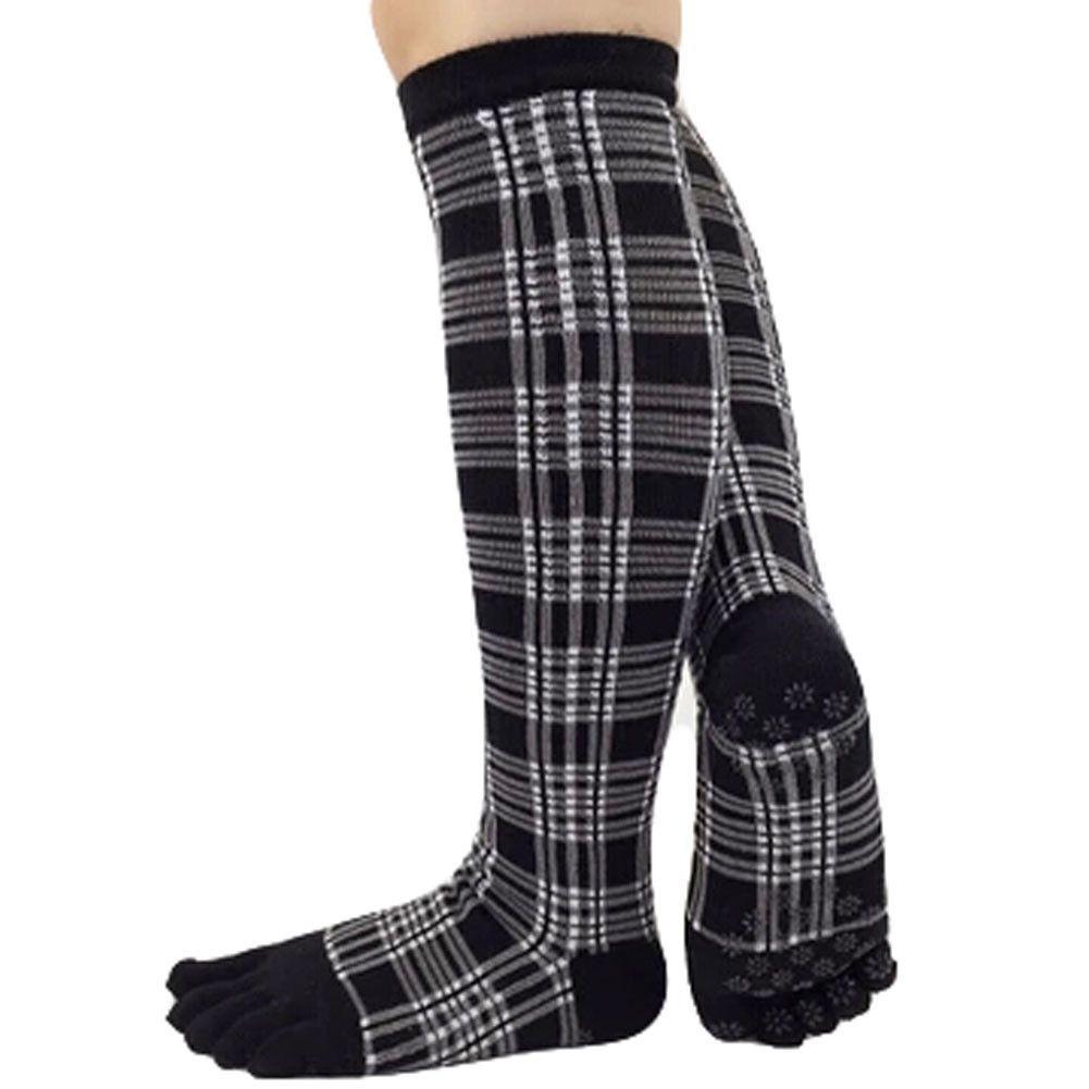 Knee High Socks Non Slip Yoga Socks Cotton Yoga Full Toe Socks, Black Grid