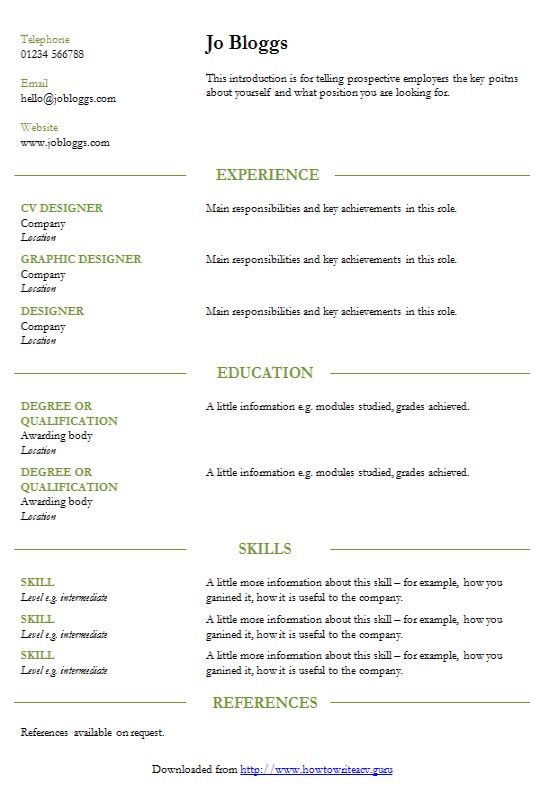 Smart green lines Microsoft Word CV template - Garamond / green
