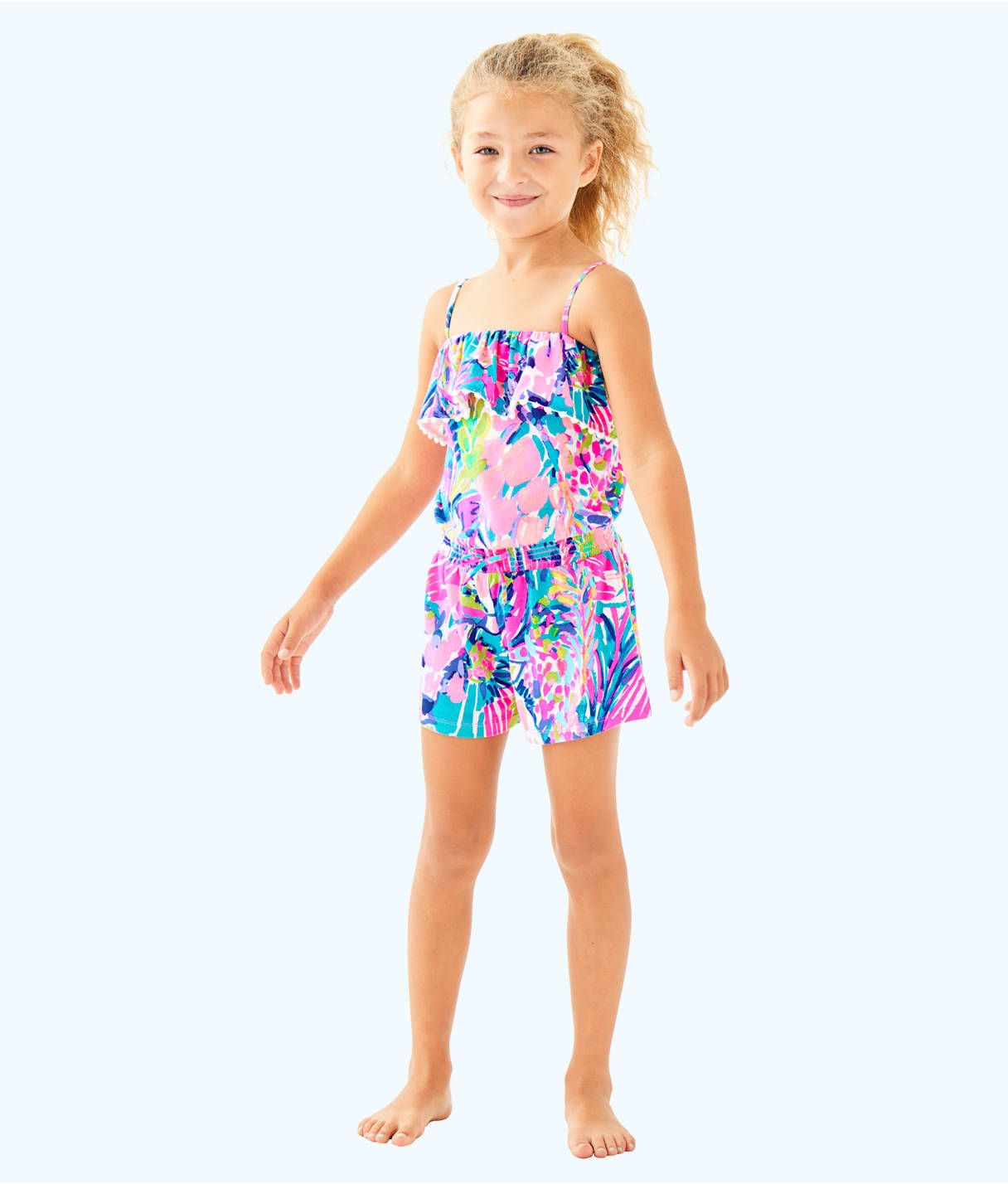 3d308253c2b7f3 Girls Leonie Romper, Multi Gumbo Limbo | lilly p | Rompers, Knitted ...