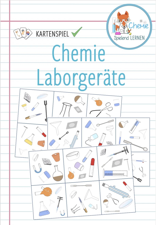 Laborgeräte Chemie   Wer sieht es zuerst Kartenspiel ...