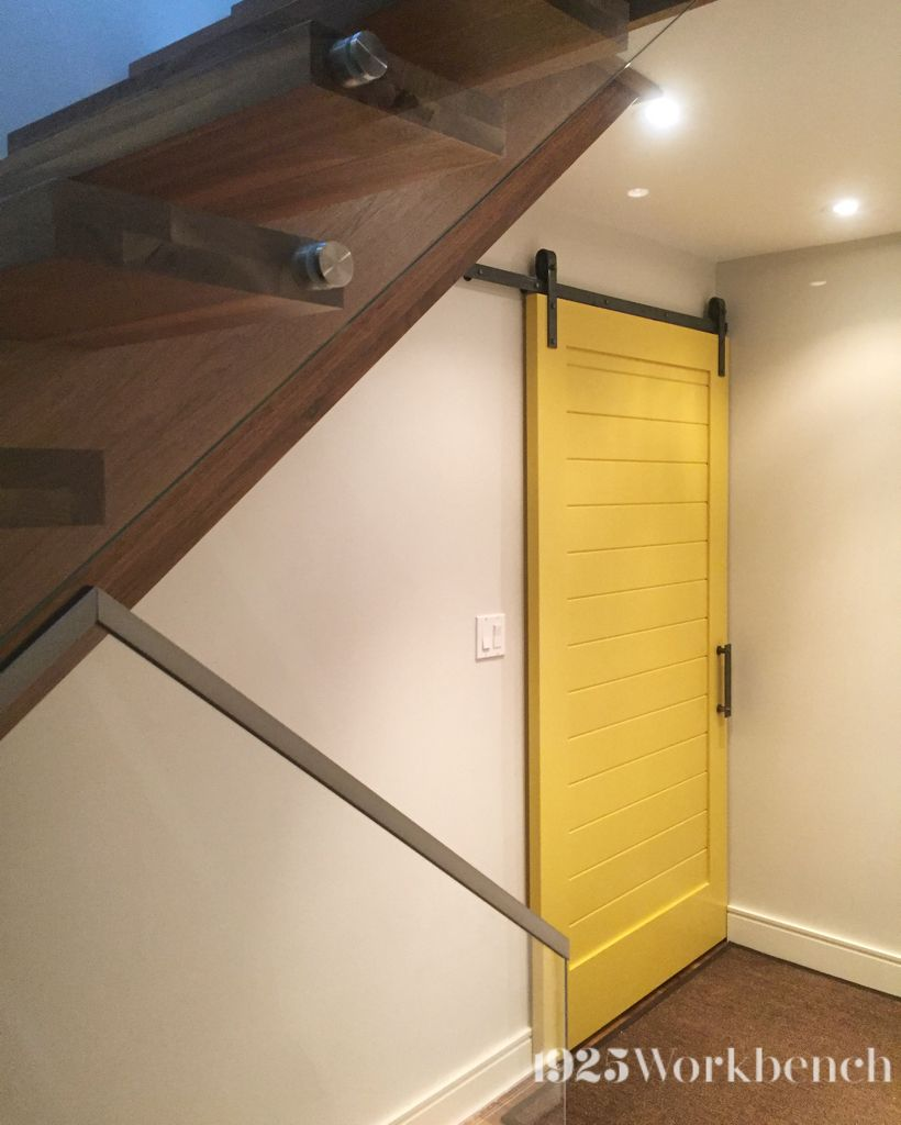 Handmade Solid Wood Yellow Barn Door On Our Heavy Metal Barn Door