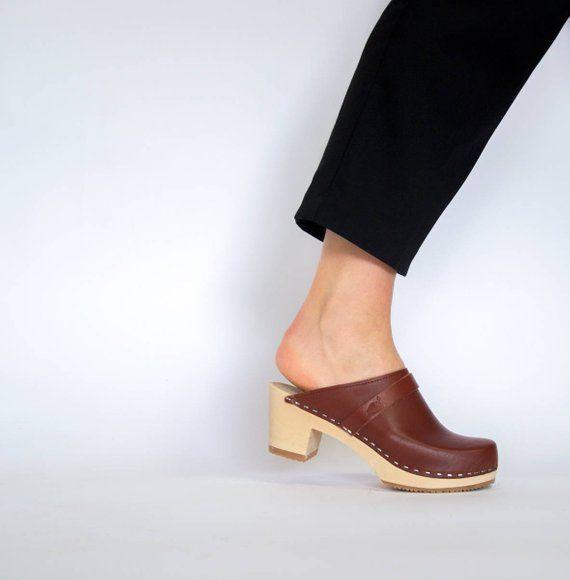 5eedaa2ae1800 Swedish Handmade Wooden Clog Mules For Women | Comfortable Mid High ...