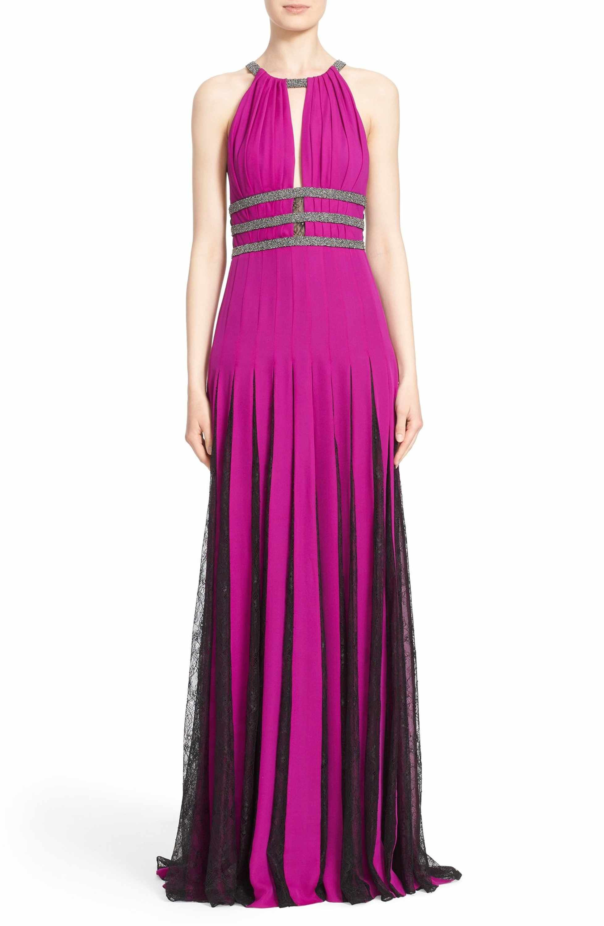 Nordstrom dresses wedding guest  Couture Silk Halter Gown with Lace Pleats  Halter gown Badgley