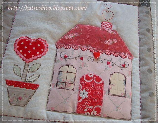 Môj ružový vesmír : Country Cottages ...... ❤ Love the heart chimney smoke stitch, appliquéd red heart flower, heart vine stitch