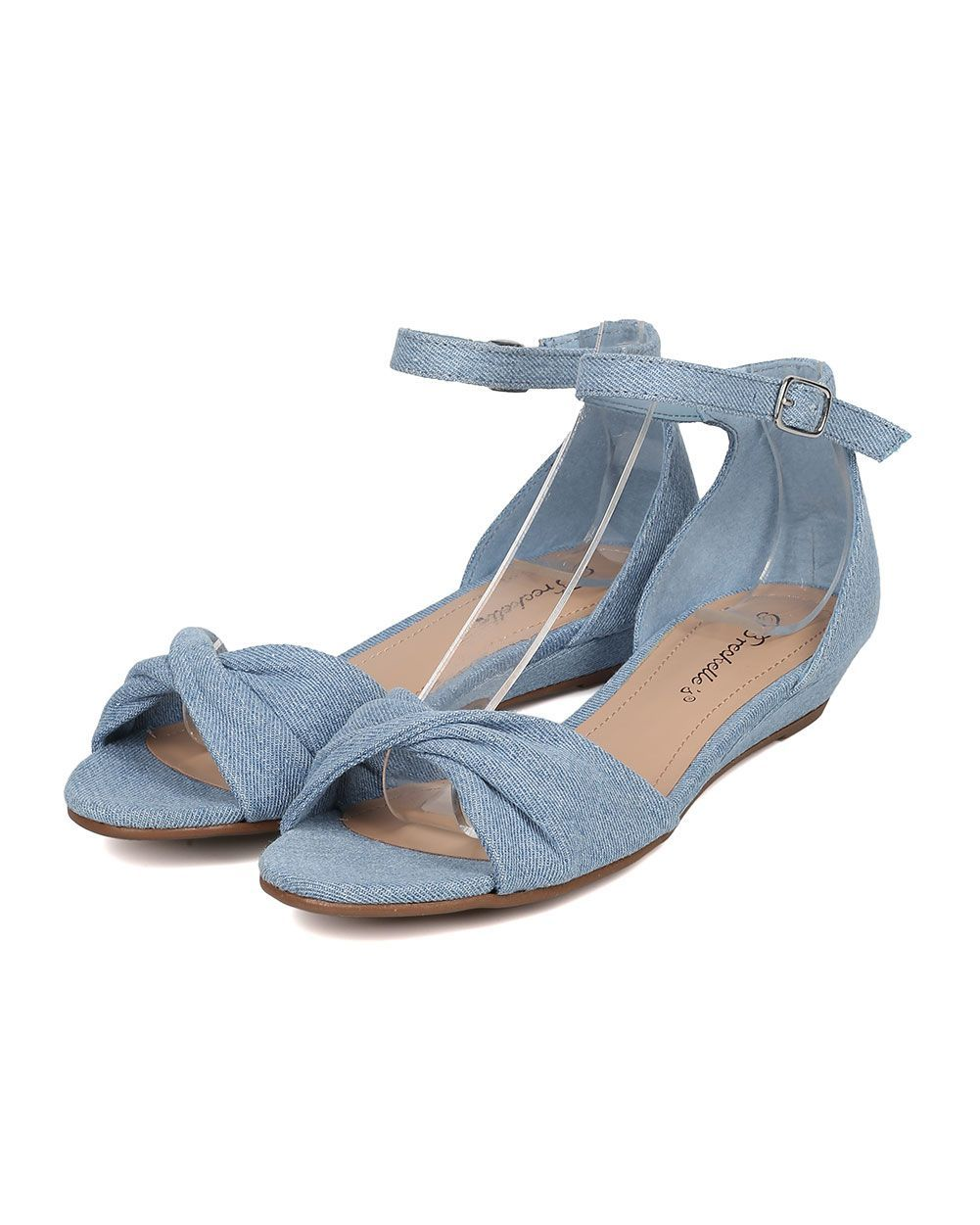 d49935931b73 Shoes Breckelles HK38 Women Denim Open Toe Twisted Ankle Strap Low Wedge  Sandal  AnklestrapsHeels